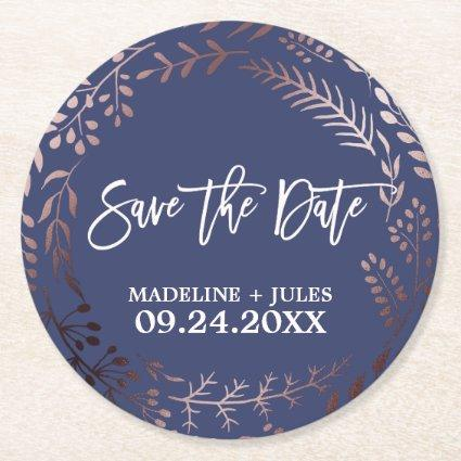 Elegant Rose Gold and Navy Wedding Save the Date Round Paper Coaster