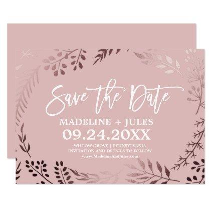 Elegant Rose Gold and Pink Save the Date Card