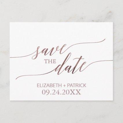 Elegant Rose Gold Calligraphy Save the Date Announcement