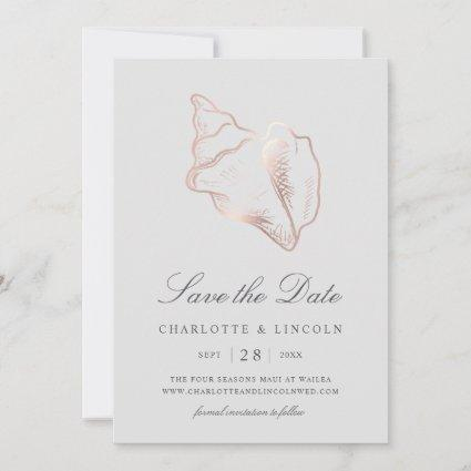 Elegant Rose Gold Conch Shell Wedding Save The Date