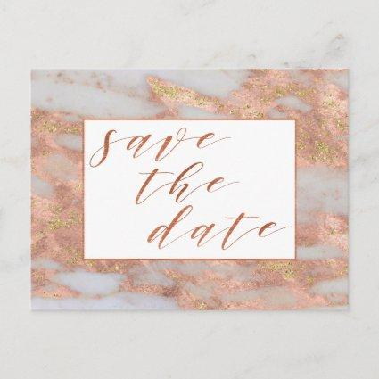 Elegant Rose Gold Marble Script Save The Date Announcement