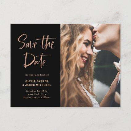 Elegant Rose Gold on Black | Photo Save the Date Announcement