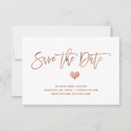 Elegant Rose Gold on White with Heart Save The Date