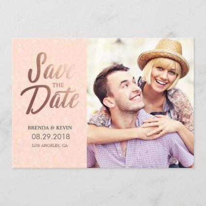 Elegant Rose Gold | Photo Save the Date Card