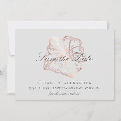 Elegant Rose Gold Tropical Hibiscus Flower Wedding Save The Date