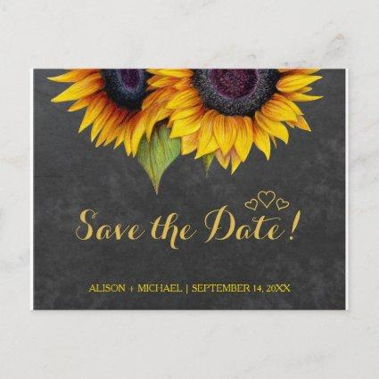 Elegant rustic sunflower fall save date wedding announcement