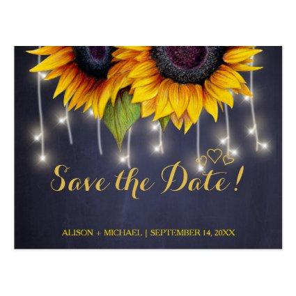 Elegant rustic sunflower fall save date wedding Cards
