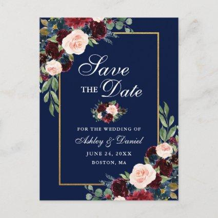 Elegant Save the Date Burgundy Floral Gold Blue Announcement