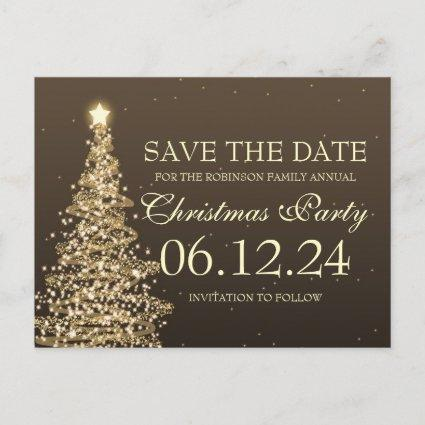 Elegant Save The Date Christmas Party Brown Announcement