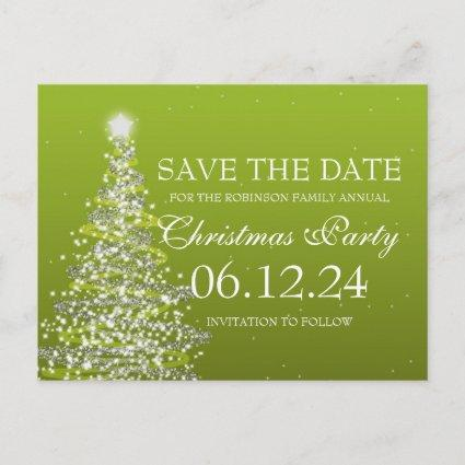 Elegant Save The Date Christmas Party Green Announcement