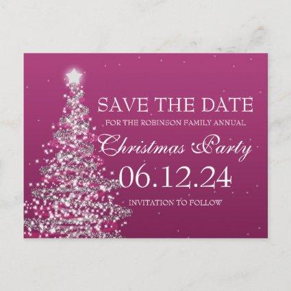 Elegant Save The Date Christmas Party Pink Announcement
