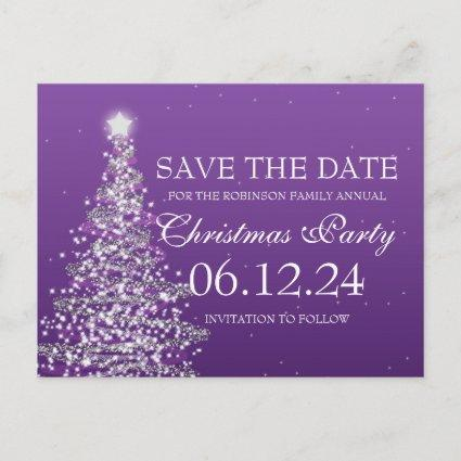 Elegant Save The Date Christmas Party Purple Announcement