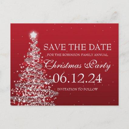 Elegant Save The Date Christmas Party Red Announcement