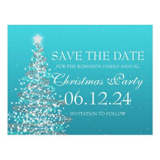Christmas Save The Date.Elegant Save The Date Christmas Party Turquoise Save The