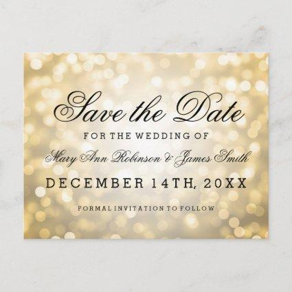 Elegant Save The Date Gold Glitter Lights Announcement