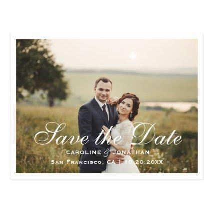 Elegant Save the Date, Photo, White Hand lettering