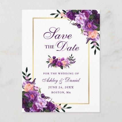 Elegant Save the Date Purple Violet Floral Gold Announcement