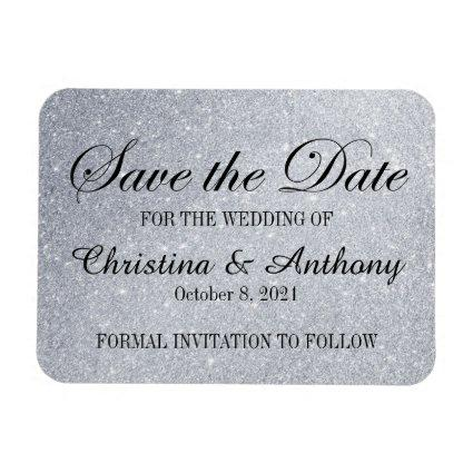 Elegant Save the Date Silver Glitter Print Magnets