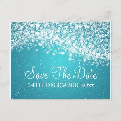 Elegant Save The Date Sparkling Wave Blue Announcement