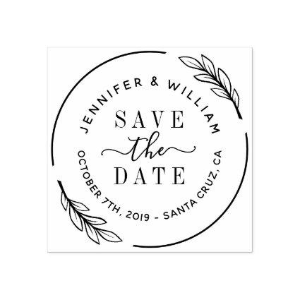 Elegant Script & Botanical Wreath Save The Date Rubber Stamp