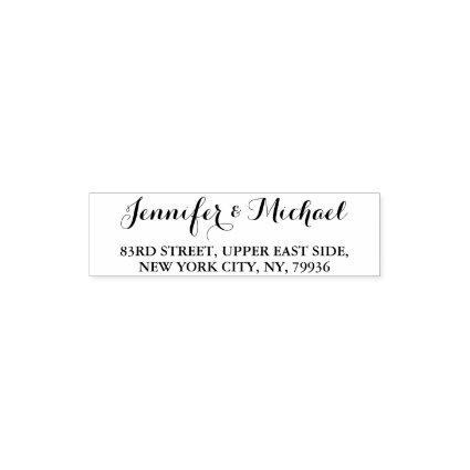 Elegant Script Couple Name Weddings Return Address Self-inking Stamp