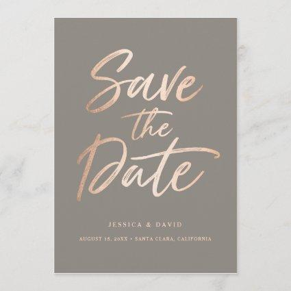 Elegant Script Faux Foil Save the Date
