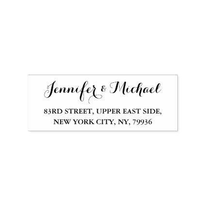 Elegant Script Weddings Engagement Return Address Rubber Stamp