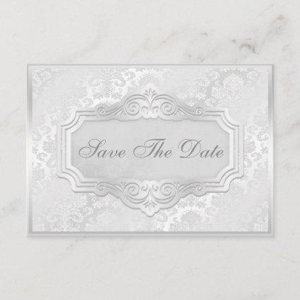 Elegant Silver Damask Wedding Save The Date