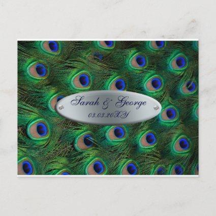 elegant silver teal peacock save the date announcement