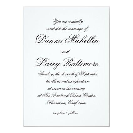 Elegant Simple Script Type Wedding Invitation