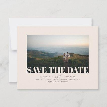 Elegant Soft Ivory Brown Color Save the Date Photo