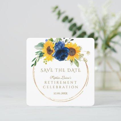 Elegant Sunflowers Blue Floral Gold Retirement  Save The Date