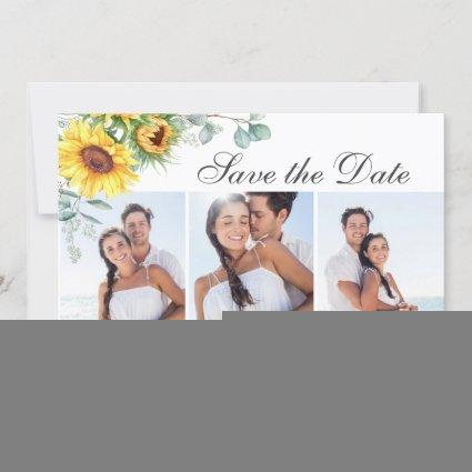 Elegant Sunflowers Eucalyptus 3 PHOTO Wedding Save The Date