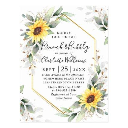 Elegant Sunflowers Golden Greenery Brunch & Bubbly