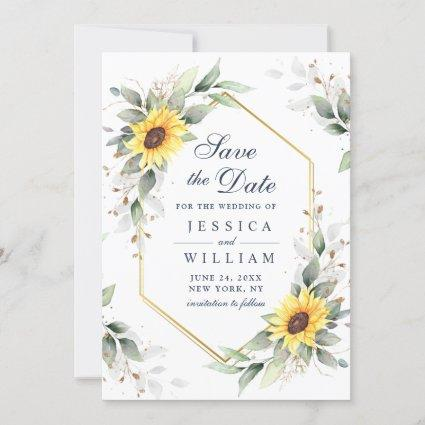 Elegant Sunflowers Watercolor Greenery Wedding Save The Date