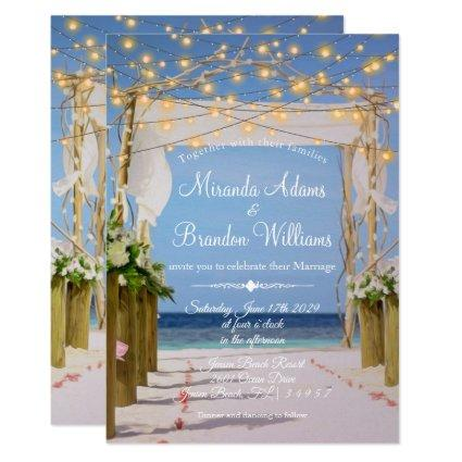 Elegant Sunset Beach String Lights Summer Wedding Invitation
