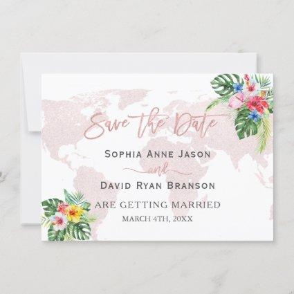 Elegant Tropical Floral Gold World Map Wedding Save The Date