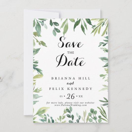 Elegant Tropical Green Foliage Calligraphy Wedding Save The Date