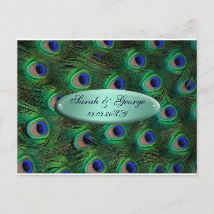elegant turquoise peacock save the date announcement