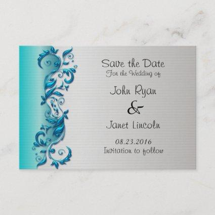 Elegant Turquoise & Silver Florid Wedding Design Save The Date