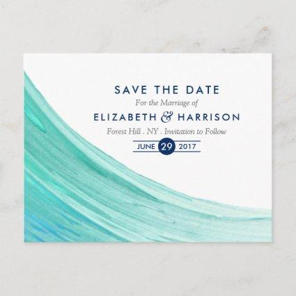 Elegant Turquoise Tides Beach Save The Date Announcements Cards