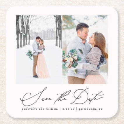 Elegant Two Photo Wedding Save the Date Coaster