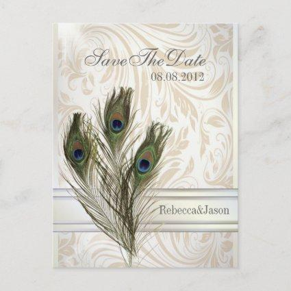elegant vintage damask peacock Save the date Announcement