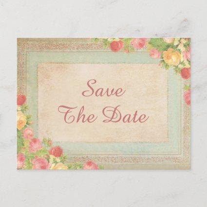 Elegant Vintage Roses 50th Save The Date Announcement