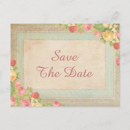 Elegant Vintage Roses 75th Save The Date Announcement