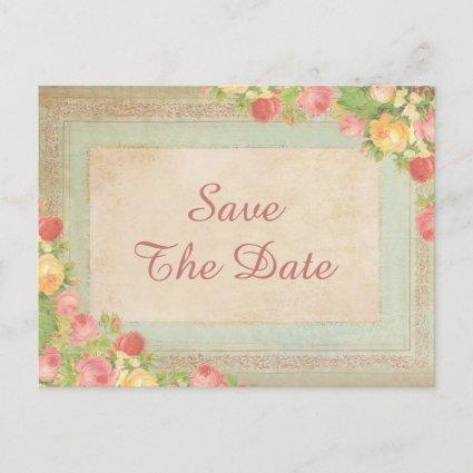 Elegant Vintage Roses Sweet 16 Save The Date Announcement