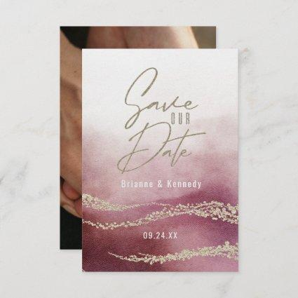 Elegant Watercolor Burgundy & Gold Save the Date