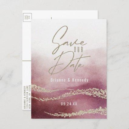 Elegant Watercolor Burgundy & Gold Save the Date Announcement