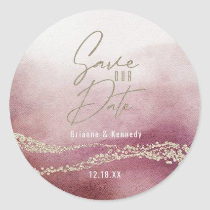 Elegant Watercolor Burgundy & Gold Save the Date Classic Round Sticker