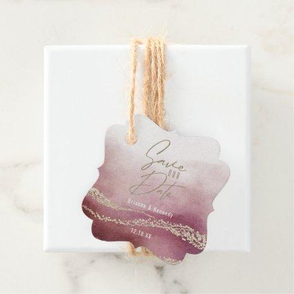 Elegant Watercolor Burgundy & Gold Save the Date Favor Tags